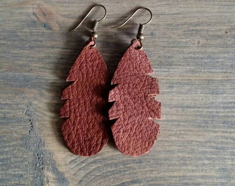 SALE - Brown Feather Earrings - Feather Leather Drop Earrings - Leather Jewelry - Leather Dangle Earrings - Brown Earrings - Lovespangle