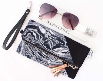 Folded marble zipper pouch, Large clutch bag, originals by ANJESY design