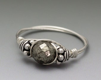 Pyrite Fools Gold Faceted Bali Sterling Silver Wire Wrapped Bead Ring - Made to Order, Ships Fast!