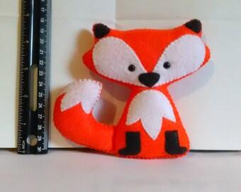 Handcrafted Felt Fox, Stuffed, Feltie, Woodland Critter, 5 inch.