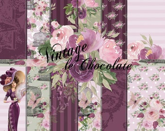 Digital Paper, Watercolor Paper, Romantic Floral Rose Paper, Wine and Lilac Fashion Paper. No. P207