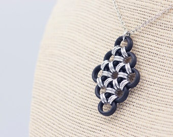 "Aluminum and Rubber ""Diamond"" Chainmail Pendant Necklace"