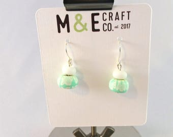 Light Teal and White Earrings