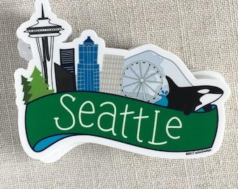 Seattle Skyline Vinyl Sticker / Seattle Washington Sticker / Modern Laptop Sticker / Waterproof Water Bottle Sticker / Cool Bumper Sticker