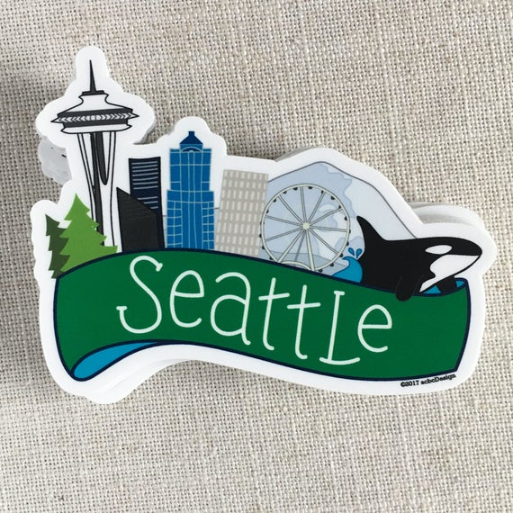 Seattle Skyline Vinyl Sticker Seattle Washington Sticker