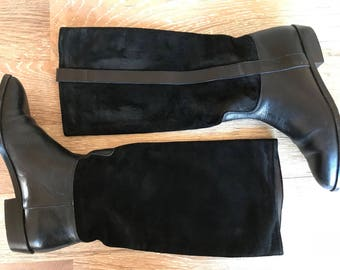 Italian Leather Riding Boots 6.5 - English Riding Boots 6.5 - Black Knee High Italian Leather Boots 6.5, Black Leather Biker Boots 6