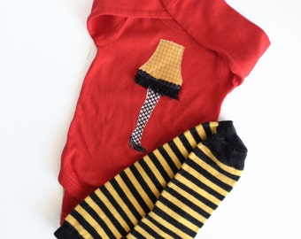 Ready to Ship 18m baby Leg Lamp on Red Long Sleeve One Piece with hand dyed leg warmers