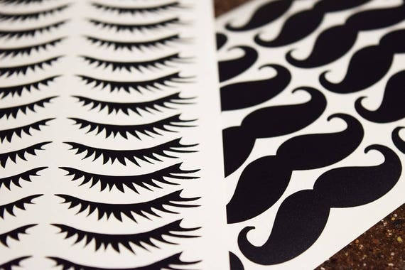 Staches or lashes decals staches or lashes gender reveal cup decals vinyl mustache or eyelashes decals staches and lashes cup stickers