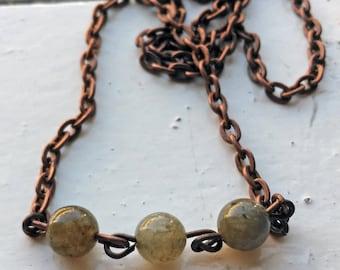 Labradorite Trio with Copper Chain Necklace