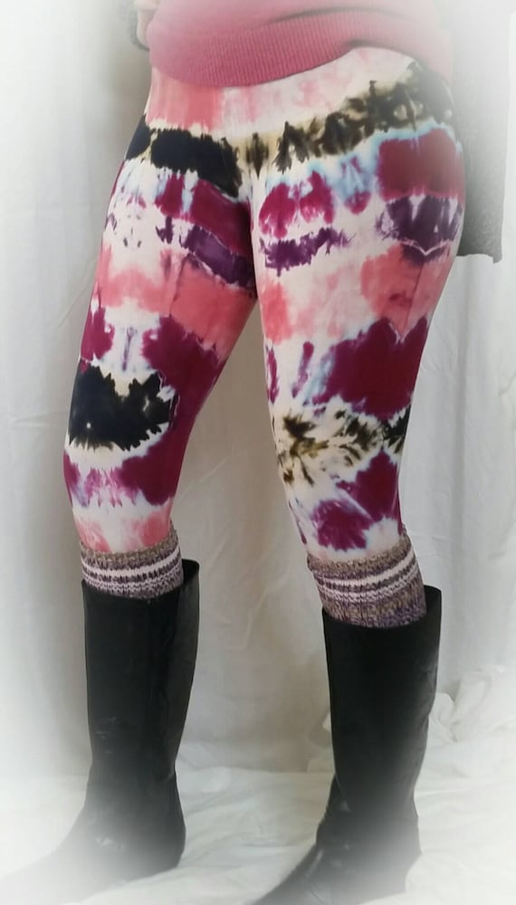 Tie Dye Leggings/Hand Dyed/Womens Tie Dye/Purple, Raspberry, Pink & Black/Eco-Friendly Dying