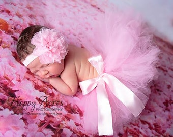 Pink Newborn Tutu and Headband, newborn tutu, baby tutu, newborn photography prop, birthday tutu