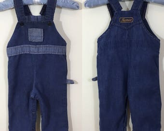 70s By Thomas Blue Two Tone Denim Overalls, Size 6 to 9 months