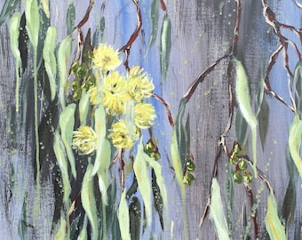 BE WITH YOU - Yellow Gum Blossoms // original art //canvas art // gift for her // Home Decor //Free shipping //still life //flower painting