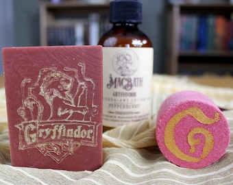 Gryffindor Soap, Lotion, and Bath Bomb Set