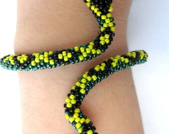 Beaded jewelry Jewelry Bracelets Beaded Bracelets Green snake Snake bracelet Crochet bracelet Beaded crochet Handmade Yellow bracelet