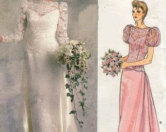 1980s Vogue 1829 Bridal Original Wedding Dress Sewing  Pattern Bateau Neck Long or Puff Sleeves Size 8 Bust 31.5 UNCUT