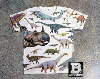 Dinosaur Collage All Over Print T Shirt, dino tee, dinosaur TShirt, Triceratops Tshirt, paleontology shirt, dinosaur illustration print