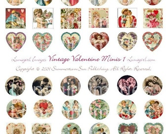 VALENTINES minis digital collage sheet bottlecaps vintage Victorian cards images circles hearts inchies cupids altered art ephemera DOWNLOAD