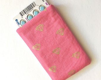 Pill Case Birth Control Sleeve - Gold diamonds
