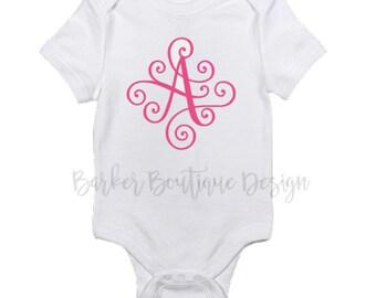 Elegant Scroll Monogram Baby Bodysuit  with Glitter Option