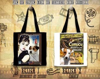 Parson Russell Terrier Tote Bag/Terrier Portrait/Terrier Art/Custom Dog Portrait/Movie Poster/Breakfast at Tiffany/Curucu