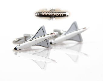 Aircraft cufflinks. Fighter cuff links. Personalized name cufflinks.Pilot cuff link.Fighter Plane