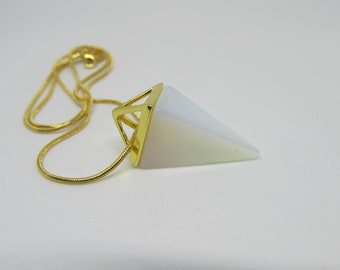 OPAL Pyramid Shaped Gold Plated Necklace - Mineral, Quartz, Crystal, Stone