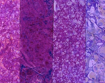 Hand Marbled Paper Set: 4 Sheets 8x11 (Purple Stones)