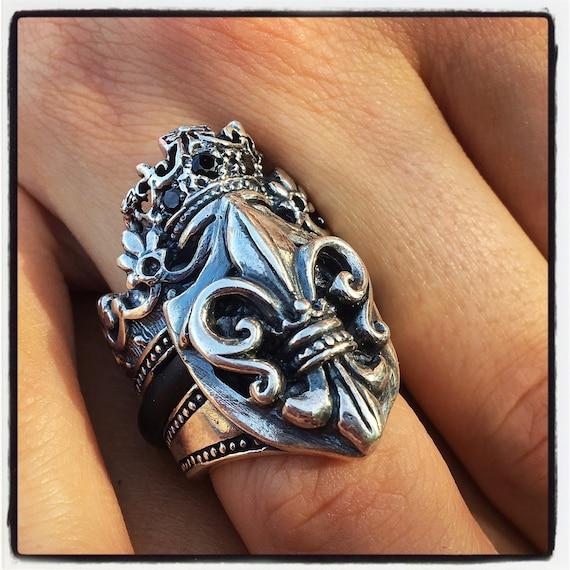 Etherial Jewelry Rock Chic Talisman Luxury Biker Custom Handmade Artisan Pure Sterling Silver .925 Luxury Fleur De Lis Medieval King's Ring