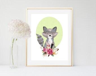 Raccoon Art Print, Nursery decor, Printable Raccoon, Watercolor Raccoon, Nursery printable,  Woodland Nursery, Nursery Art, Digital Download