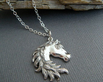"""sterling silver horse necklace small head mane pride equestrian love realistic charm gift animal lover simple equine jewelry 1"""""""