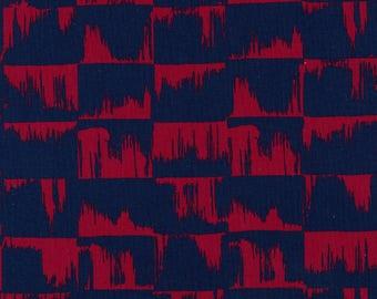 Japanese Fabric Kokka Ellen Baker Paint - brushstrokes - navy, red - 50cm