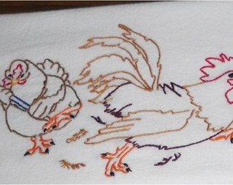 Hen Chasing Rooster with Broom Kitchen Flour Sack Dish Towel