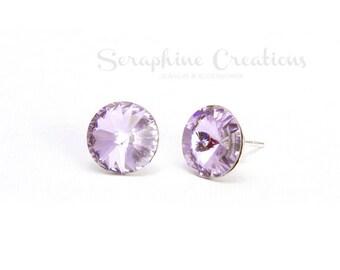 Violet Crystal Earrings Swarovski Rivoli Crystal Earrings Sparkly Bridal Bridesmaid Gift Bridal Party Bridesmaid Jewelry Lavender Lilac K010
