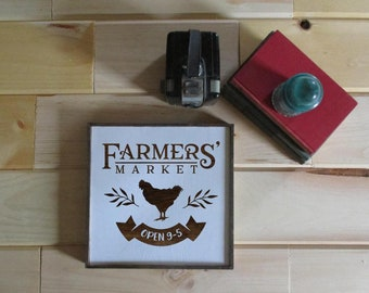 Farmers Market rustic wood sign.  Farmhouse sign.  Rooster farmers market sign.  Made to order white and wood sign.