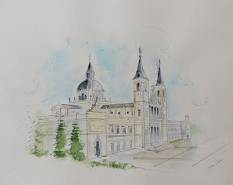 Watercolor original painting, Madrid drawing, City painting, La Almudena Cathedral/watercolor Madrid Catedral, original watercolor, art décor