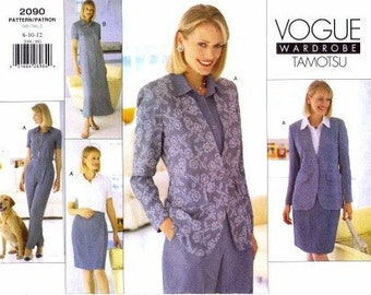 90s Tamotsu Womens Jacket, Dress, Skirt & Pants Vogue Sewing Pattern 2090 Size 8 10 12 Bust 31 1/2 to 34 UnCut Vogue Career Wardrobe