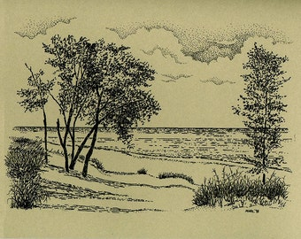 Indiana Note Cards - America Indiana Dunes State Park Artwork – Indiana Dunes State Park Note Sale.