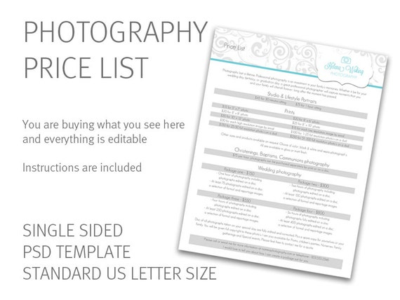 Photography price list template price guide photography photography price list template price guide photography business form digital download psd file accmission Images