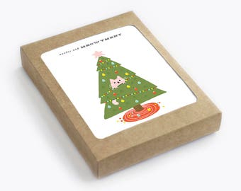 Cat Christmas Card Set - Holiday Card - Wonder and Meowyment - Pack of 8