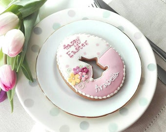 Personalised Giant Easter Egg  Cookie -  Easter Biscuit