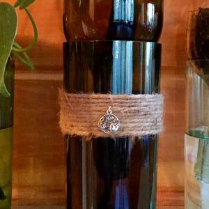 Wine Bottle Planter-Brown Glass