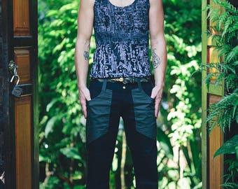 SALE Basic Pants - Green Pants, Burning Man Hipster, Mens Pants, Festival Pants for him, Festival Clothing, Gift for Boyfriend, Snap Pants
