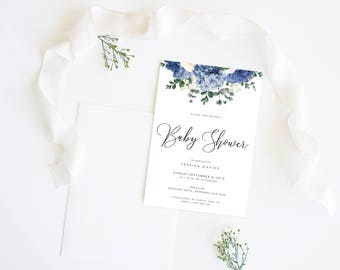 Blue Floral Baby Shower   Event Invitation Suite   Boy Gold Pram Flowers Printable Digital File Printed Invite Invitations Stationery