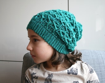 Crochet Pattern, slouchy hat pattern, honeycomb hat crochet pattern, photo tutorial crochet pattern 253 Instant download