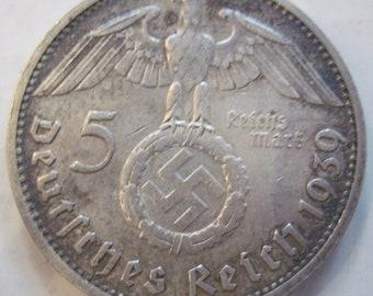 1939 silver German 5 Reichs Mark (#E422d)