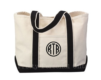 Tote Bag Monogrammed  -  Personalized Canvas Tote Bag in 7 colors