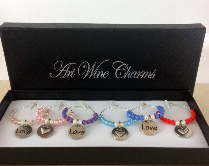 Wine Glass Charms, Love Wine Charms, Wine Lover Gift, Wine Charms, Wine Gift,  BFF Gift, Heart wine charms, Heart love charms, Heart charms