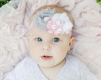 Pink and Gray Baby Headband, Infant headband, Newborn Headband, Toddler Headband, Baby Headband Pink and Gray, Newborn pink and gray