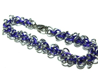 Shaggy Loops Chainmaille Bracelet | Hand Crafted Chainmaille Jewelry | Handmade Bracelet | Purple and Silver | Anodized Aluminum